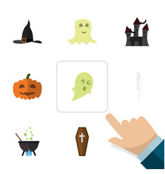 Flat icon celebrate set of skeleton magic gourd vector
