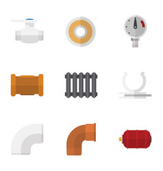 Flat icon sanitary set of conduit roll plastic vector