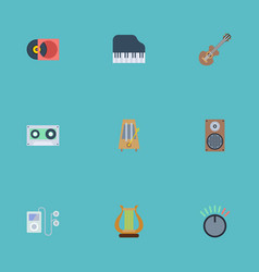 flat icons retro disc acoustic knob and other vector image