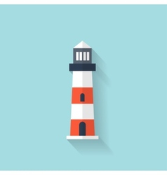 Flat lighthouse web icon vector