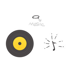 flat music symbol vinil record note vector image
