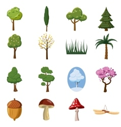 Forest icons set cartoon style vector image