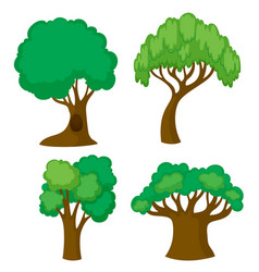 four different shapes of trees vector image