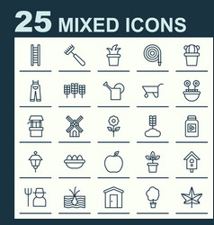 gardening icons set collection of birdhouse vector image