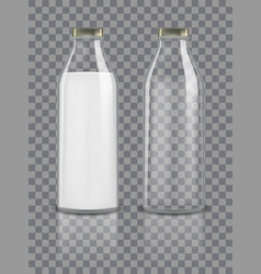 glass traditional bottles mockup empty and vector image