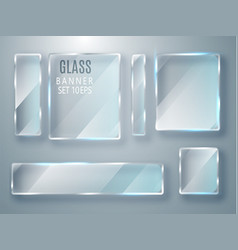 Glass transparent banners set glass plates vector
