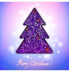 Greeting card with lace christmas tree vector