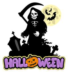 grim reaper with halloween sign vector image