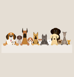 Group of dog breeds holding banner vector