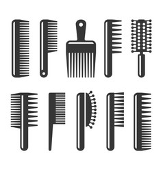 Hair combs and hairbrushes icons set vector