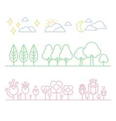 Handdrawn Trees and Flowers in Linear Style vector