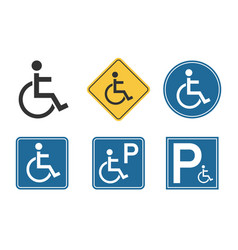 handicap icons set wheelchair and disability vector image