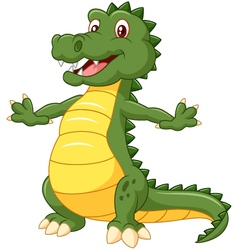 Happy cartoon crocodile posing vector image