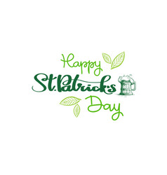 happy st patricks day badge hand drawn irish vector image