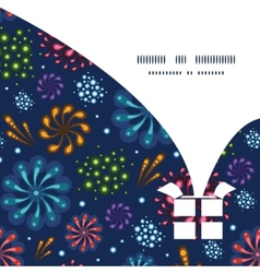 holiday fireworks Christmas gift box silhouette vector image