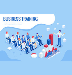 Isometric business training concept group of vector
