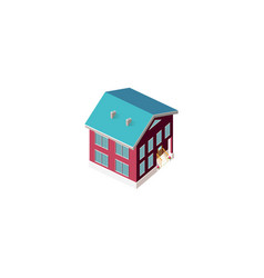 isometric facade red house vector image