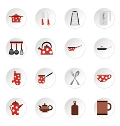 Kitchen utensil icons set flat style vector image