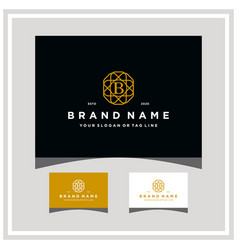 Letter b ornament and business card vector