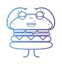 line kawaii cute happy hamburger fastfood vector image