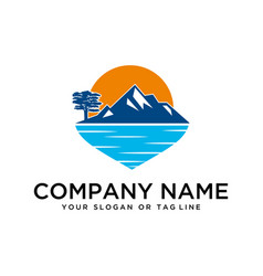 logo design mountains rivers and sun template vector image