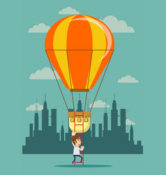 man climb a ladder to a air balloon vector image