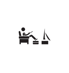 man watching tv black concept icon man vector image