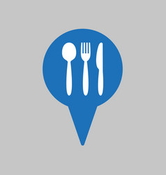 map markers with fork spoon and knife vector image