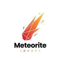 Meteorite impact geometric polygonal logo icon vector