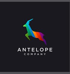 minimalist rainbow antelope logo icon template vector image