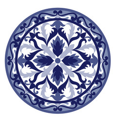 Mosaic classic floral blue and white vector