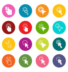 mouse pointer icons many colors set vector image