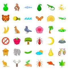 National park icons set cartoon style vector