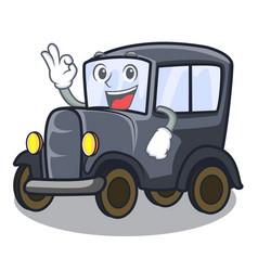 Okay old car isolated in cartoon vector