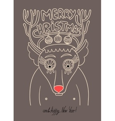 Original doodle christmas deer concept winter mer vector