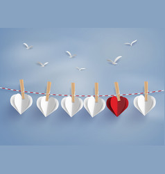 Paper heart shape hanging on the lope vector