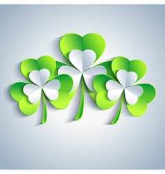 Patricks day holiday card with leaf clover 3d vector image vector image