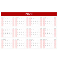 Red calendar 2020 basic grid simple design vector