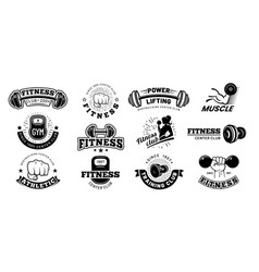 Retro fitness badges gym emblem sport label and vector