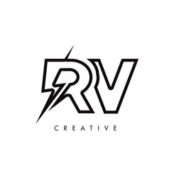 Rv letter logo design with lighting thunder bolt vector