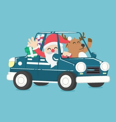 Santa claus drive a car full of christmas gift vector