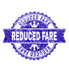 Scratched textured reduced fare stamp seal vector