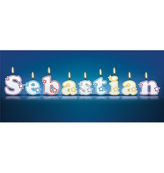 SEBASTIAN written with burning candles vector image