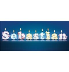 SEBASTIAN written with burning candles vector