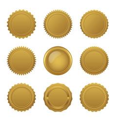 set blank golden seals vector image