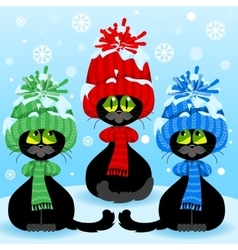 Set curious cats vector image