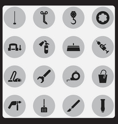 Set of 16 editable equipment icons includes vector