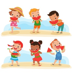 Set of children with watermelon vector