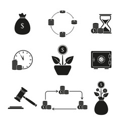Set return of investment icons vector
