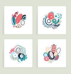 Set square cards hand drawn abstract vector